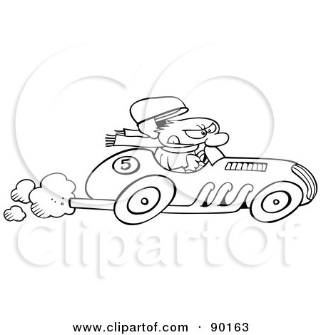 Royalty-Free (RF) Clipart Illustration of an Outlined Toon Guy Racing A Car by gnurf