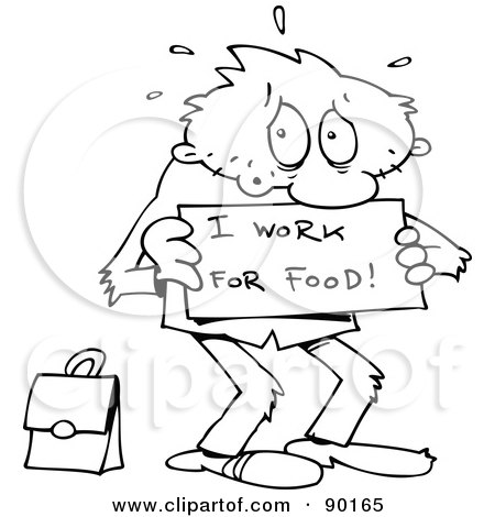 Royalty-Free (RF) Clipart Illustration of an Outlined Toon Guy Willing To Work For Food by gnurf
