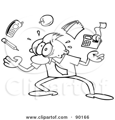 Royalty-Free (RF) Clipart Illustration of an Outlined Toon Guy Struggling To Juggle His Duties by gnurf