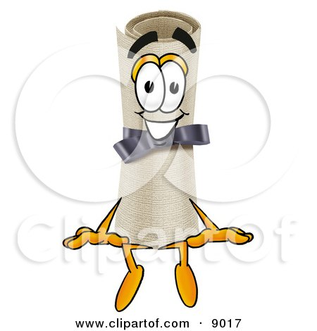 Clipart Picture of a Diploma Mascot Cartoon Character Sitting by Toons4Biz