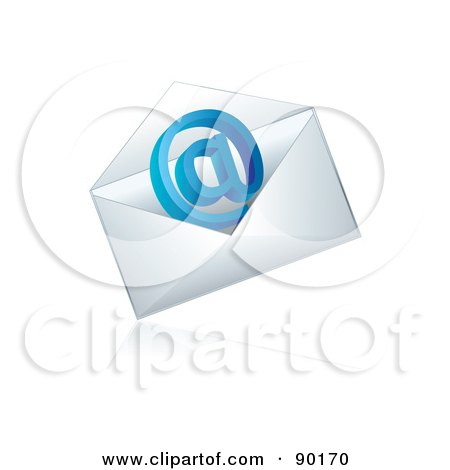 Royalty-Free (RF) Clipart Illustration of a Blue 3d Email At Symbol In An Envelope by MilsiArt