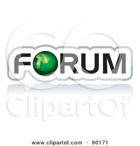 Royalty-Free (RF) Clipart Illustration of a Green Globe As The O In Forum by MilsiArt