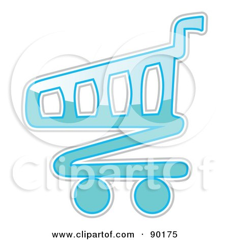 Royalty-Free (RF) Clipart Illustration of a Shiny Blue Shopping Cart App Icon by MilsiArt