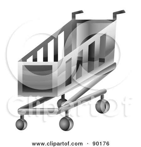 Royalty-Free (RF) Clipart Illustration of a 3d Chrome Shopping Cart App Icon by MilsiArt