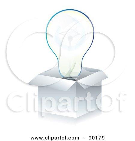 3d Light Bulb In A White Box Posters, Art Prints