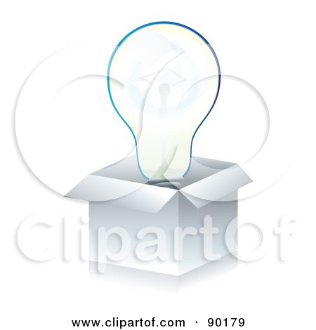 Royalty-Free (RF) Clipart Illustration of a 3d Light Bulb In A White Box by MilsiArt
