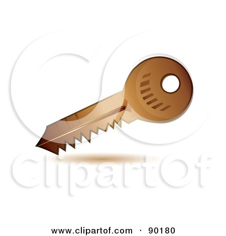 Royalty-Free (RF) Clipart Illustration of a 3d Golden Security Key App Icon by MilsiArt