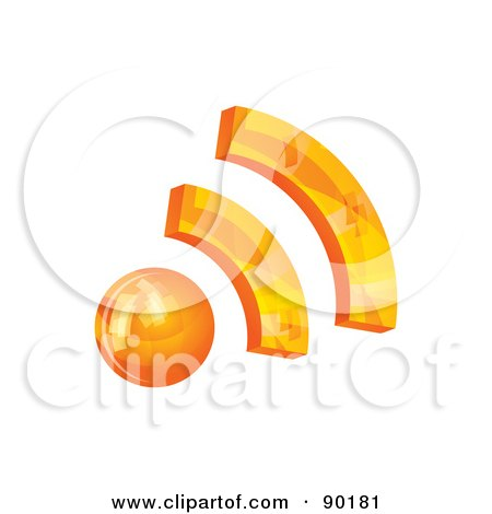 Royalty-Free (RF) Clipart Illustration of a 3d Orange RSS App Icon by MilsiArt