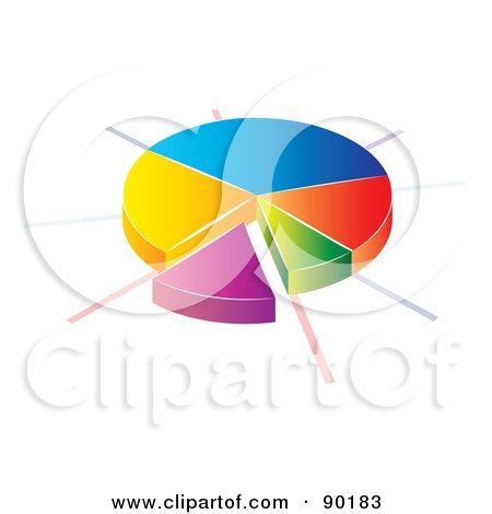 Royalty-Free (RF) Clipart Illustration of a 3d Divided Pie Chart Statistic App Icon by MilsiArt