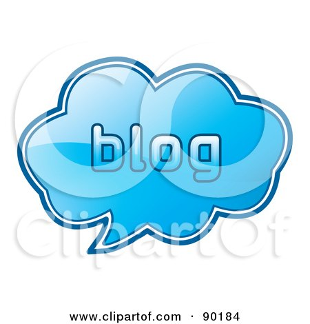Royalty-Free (RF) Clipart Illustration of a Shiny Blue 3d Blog App Icon by MilsiArt