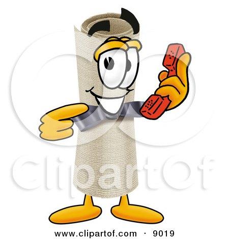 Diploma Mascot Cartoon Character Holding a Telephone Posters, Art Prints