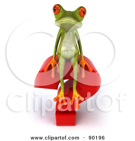 Royalty-Free (RF) Clipart Illustration of a 3d Springer Frog Sitting On Top Of A Question Mark - 2 by Julos