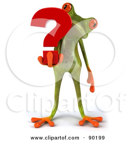 Royalty-Free (RF) Clipart Illustration of a 3d Springer Frog Holding A Question Mark - 2 by Julos