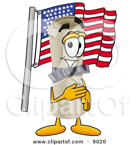Diploma Mascot Cartoon Character Pledging Allegiance to an American Flag Posters, Art Prints