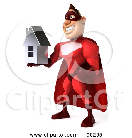 Royalty-Free (RF) Clipart Illustration of a 3d Red Super Hero Guy Holding A Silver House - 2 by Julos