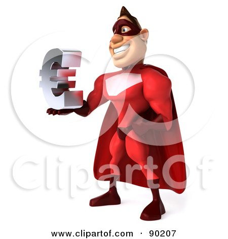 Royalty-Free (RF) Clipart Illustration of a 3d Red Super Hero Guy Holding A Euro Symbol - 1 by Julos