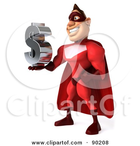 Royalty-Free (RF) Clipart Illustration of a 3d Red Super Hero Guy Holding A Dollar Symbol - 2 by Julos