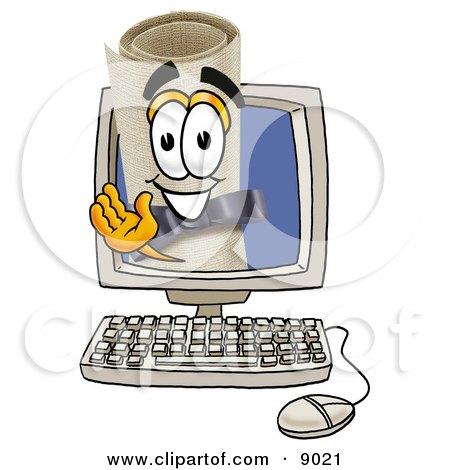 Diploma Mascot Cartoon Character Waving From Inside a Computer Screen Posters, Art Prints