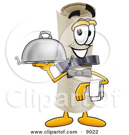 Diploma Mascot Cartoon Character Dressed as a Waiter and Holding a Serving Platter Posters, Art Prints