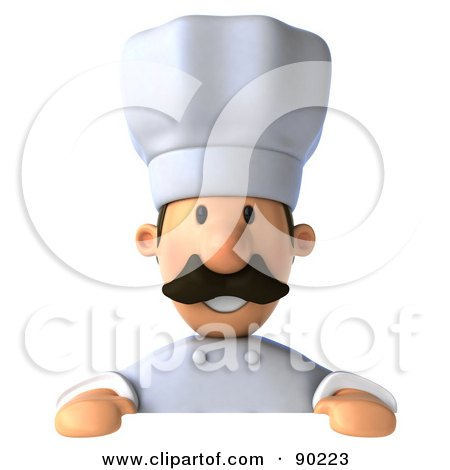 Royalty-Free (RF) Clipart Illustration of a 3d Chef Man Holding A Blank Sign by Julos