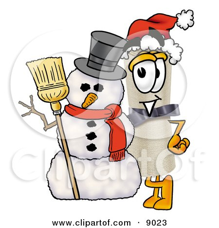Diploma Mascot Cartoon Character With a Snowman on Christmas Posters, Art Prints