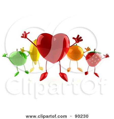 Royalty-Free (RF) Clipart Illustration of a 3d Heart Jumping With Healthy Fruit by Julos
