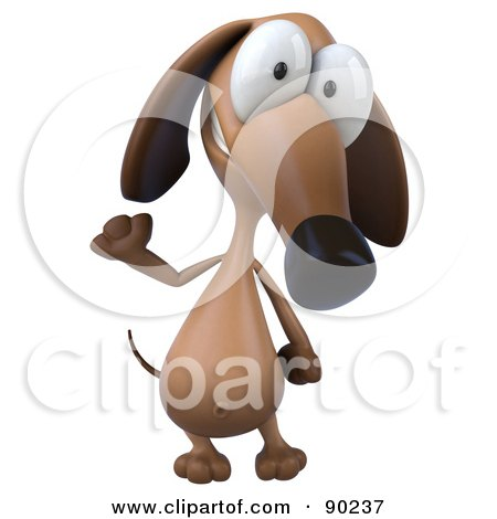 Royalty-Free (RF) Clipart Illustration of a 3d Brown Pookie Wiener Dog Character Smiling And Waving by Julos
