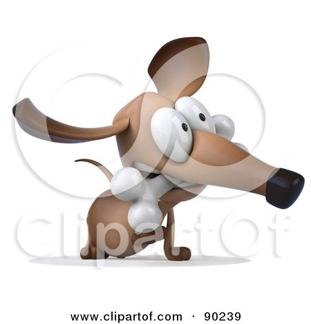Royalty-Free (RF) Clipart Illustration of a 3d Brown Pookie Wiener Dog Character With A Bone In His Mouth - Version 2 by Julos