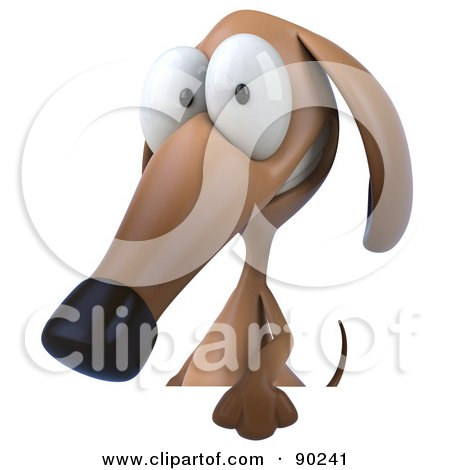 Royalty-Free (RF) Clipart Illustration of a 3d Brown Pookie Wiener Dog Character Grinning Over A Blank Sign by Julos