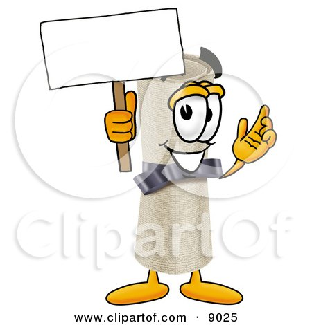 Diploma Mascot Cartoon Character Holding a Blank Sign Posters, Art Prints