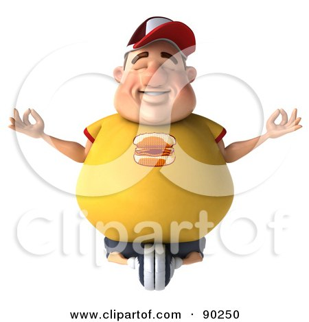 Royalty-Free (RF) Clipart Illustration of a 3d Chubby Burger Man In Lotus Pose - 1 by Julos