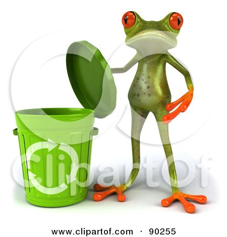 Royalty-Free (RF) Clipart Illustration of a 3d Springer Frog With A Recycle Bin - Version 1 by Julos