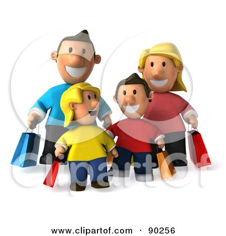 Royalty-Free (RF) Clipart Illustration of a 3d Happy Caucasian Family Shopping - 1 by Julos
