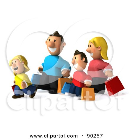 Royalty-Free (RF) Clipart Illustration of a 3d Happy Caucasian Family Shopping - 2 by Julos