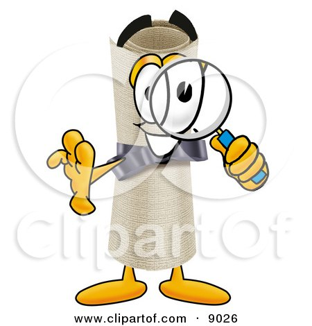 Diploma Mascot Cartoon Character Looking Through a Magnifying Glass Posters, Art Prints