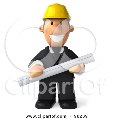 Royalty-Free (RF) Clipart Illustration of a 3d Male Architect Guy Holding Blueprints - 1 by Julos