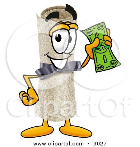Diploma Mascot Cartoon Character Holding a Dollar Bill Posters, Art Prints
