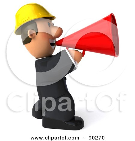 Royalty-Free (RF) Clipart Illustration of a 3d Male Architect Guy Announcing - 2 by Julos