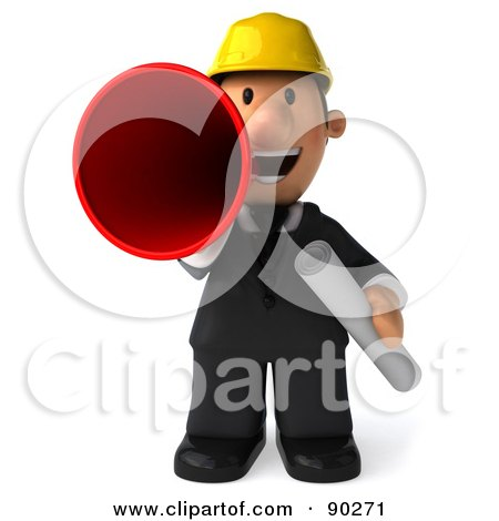 Royalty-Free (RF) Clipart Illustration of a 3d Male Architect Guy Announcing - 1 by Julos