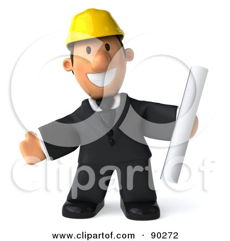 Royalty-Free (RF) Clipart Illustration of a 3d Male Architect Guy Holding Blueprints - 5 by Julos