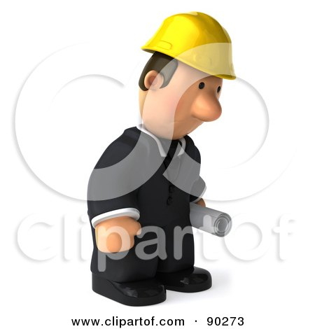 Royalty-Free (RF) Clipart Illustration of a 3d Male Architect Guy Holding Blueprints - 6 by Julos