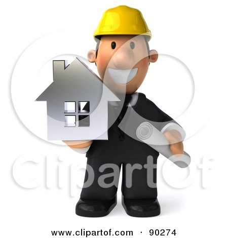Royalty-Free (RF) Clipart Illustration of a 3d Male Architect Guy Holding A House - 1 by Julos