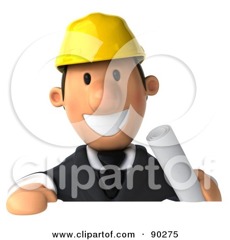 Royalty-Free (RF) Clipart Illustration of a 3d Male Architect Guy Holding a Sign - 1 by Julos
