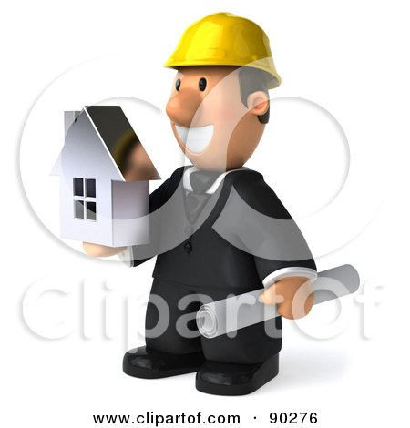 Royalty-Free (RF) Clipart Illustration of a 3d Male Architect Guy Holding A House - 2 by Julos