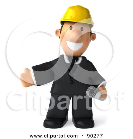 Royalty-Free (RF) Clipart Illustration of a 3d Male Architect Guy Holding Blueprints - 3 by Julos