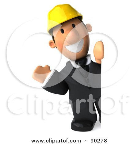 Royalty-Free (RF) Clipart Illustration of a 3d Male Architect Guy Looking Around A Sign by Julos