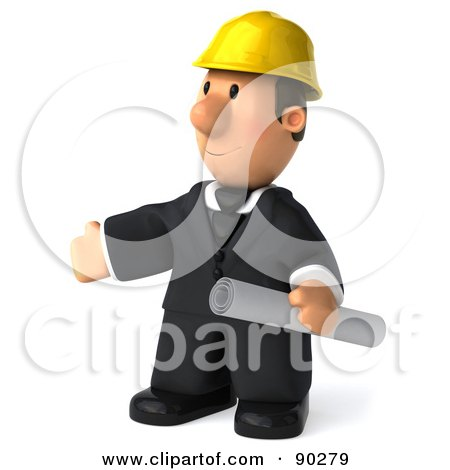 Royalty-Free (RF) Clipart Illustration of a 3d Male Architect Guy Holding Blueprints - 4 by Julos