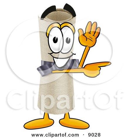 Diploma Mascot Cartoon Character Waving and Pointing Posters, Art Prints