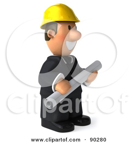 Royalty-Free (RF) Clipart Illustration of a 3d Male Architect Guy Holding Blueprints - 2 by Julos