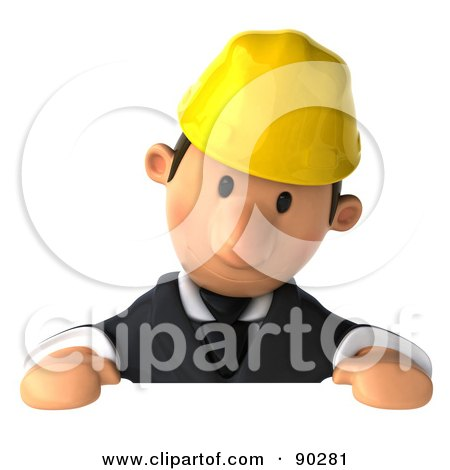 Royalty-Free (RF) Clipart Illustration of a 3d Male Architect Guy Holding a Sign - 2 by Julos